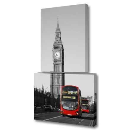 Купить Модульная картина Топпостерс, Красный автобус, 120х70 см, 2 части