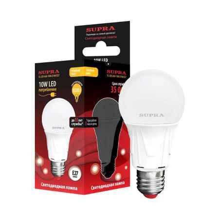 Купить Упаковка ламп 10 шт SUPRA SL-LED-A60-10W/2700/E27
