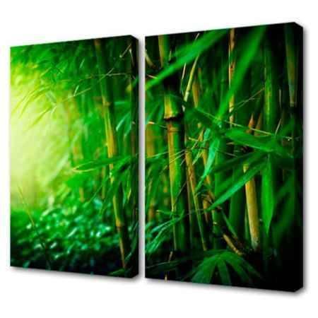 Купить Модульная картина Топпостерс, Зеленый бамбук, 100х75 см, 2 части