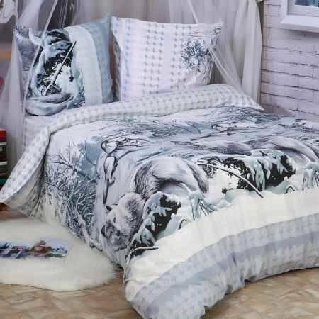 Купить Комплект постельного белья Delsonno cемейный Без ШВА (Поплин) Белый клык