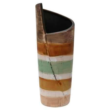 Купить Ваза декоративная Феникс-Презент из фаянса Полосатая M 31x10см, глазурованная