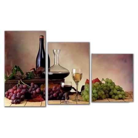 Купить Модульная картина Топпостерс, Винный натюрморт, 50x78 см, 3 части