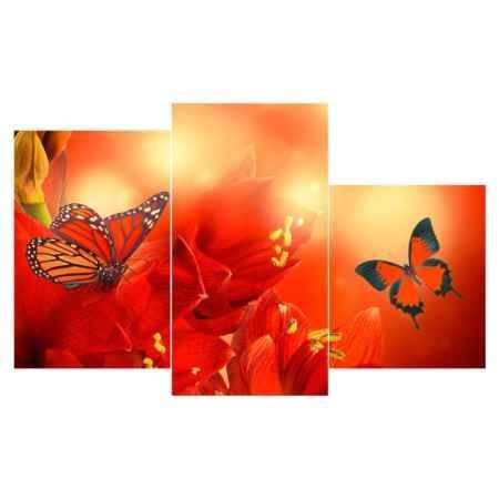 Купить Модульная картина Топпостерс, Красные бабочки, 50x78 см, 3 части