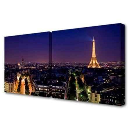 Купить Модульная картина Топпостерс, Ночной Париж, 100х50 см, 2 части