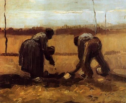 Крестьянин с крестьянкой сажают картофель.1885 - Ван Гог Винсент Виллем
