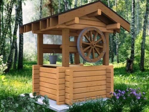 Деревянный домик для колодца